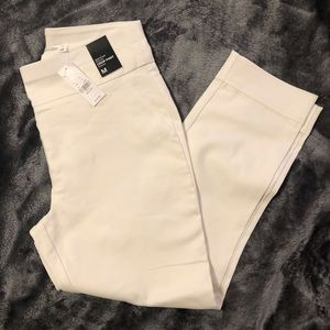 High waisted pull on white crop dress pants
